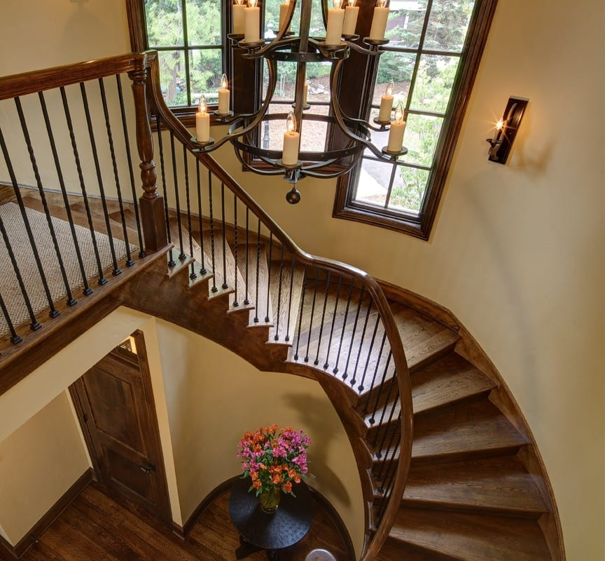 Staircase at Blackhawk Custom Lake Home