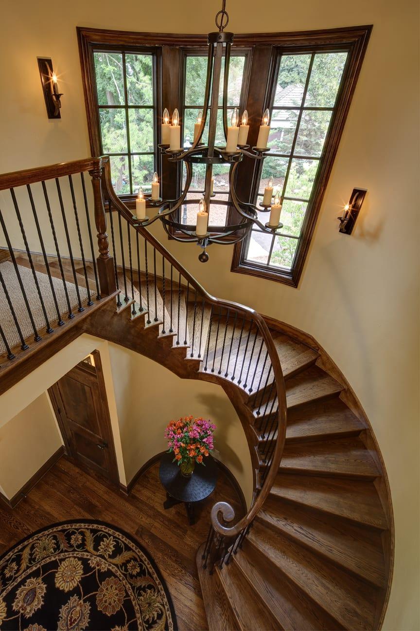 Staircase at Blackhawk Custom Lake Home