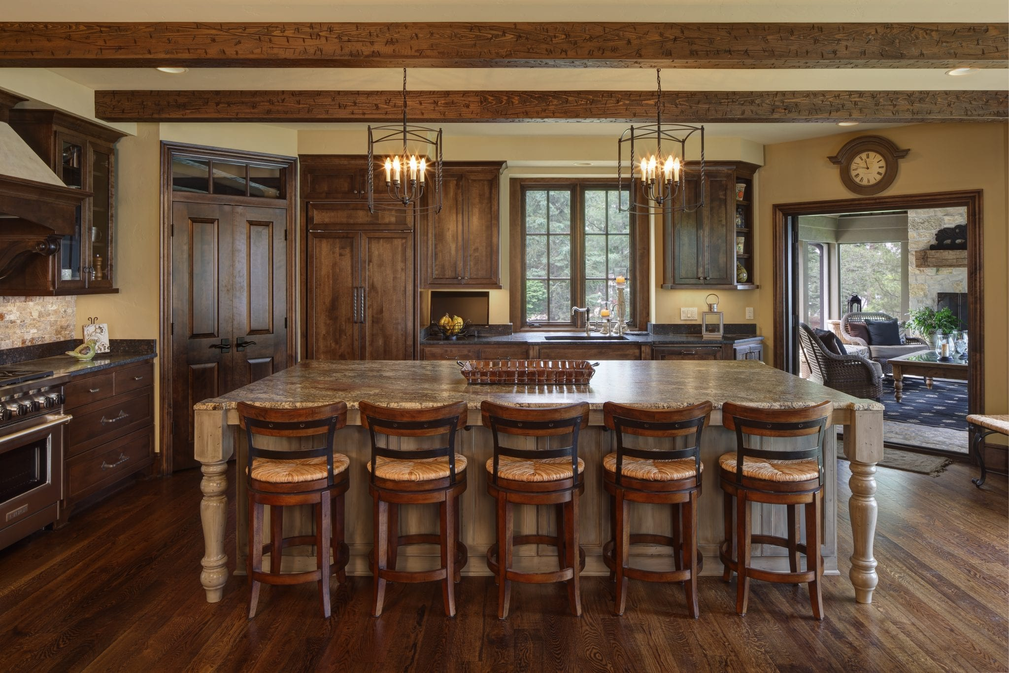 Colby Construction, Custom Lake Home Builders, newly built wooden focused kitchen