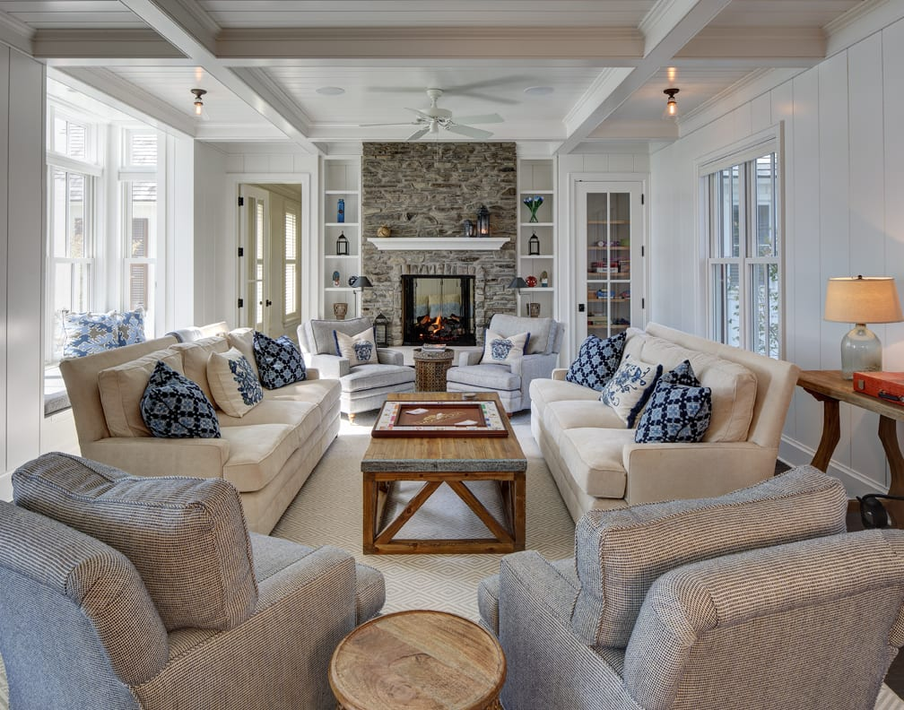 Large seating area in a lake country home.