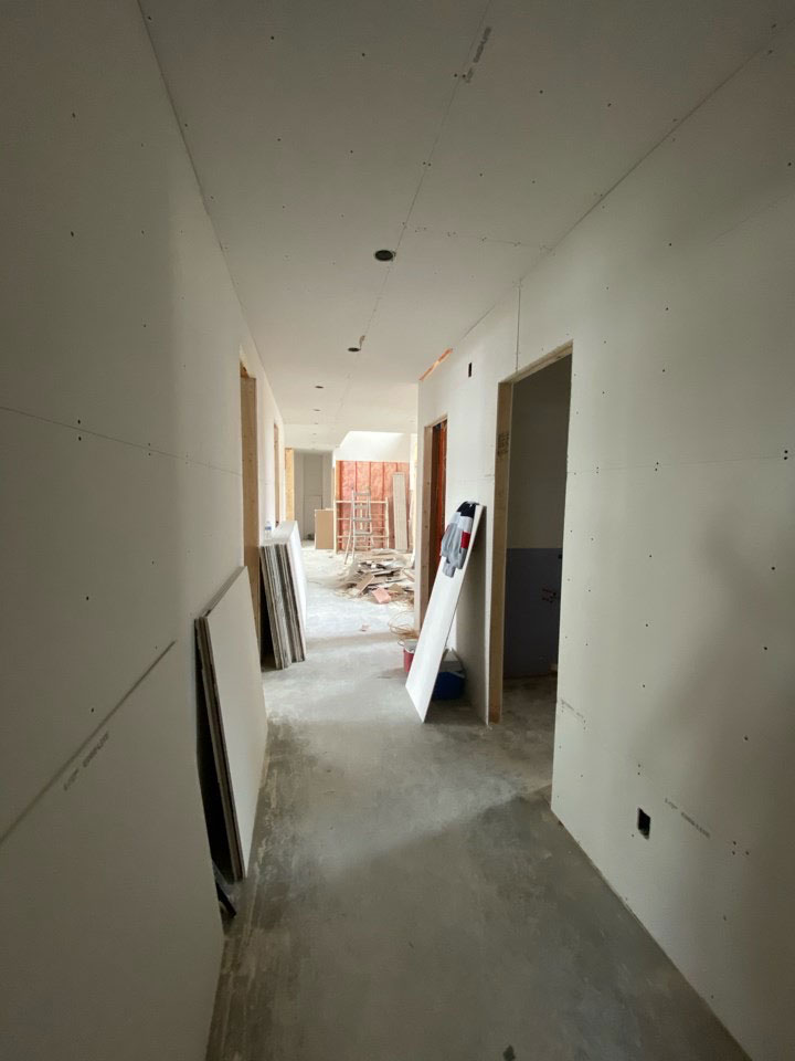 hallway with construction process